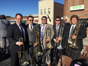 With the Western Illinois University trombone section, October 2015